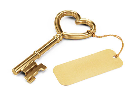 Photo pour Key shaped heart with blank tag isolated on white - image libre de droit