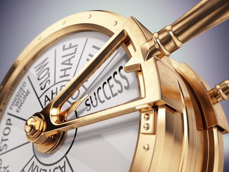 Foto de Vintage ships engine room telegraph on success mark - success business concept. 3d render - Imagen libre de derechos