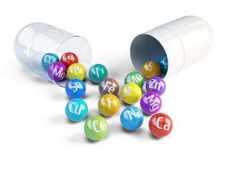 Photo pour Essential chemical minerals and microelements - healthy diet concept - 3d render - image libre de droit