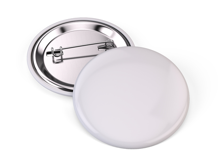 Blank white pin badge brooch isolated on white - 3d render