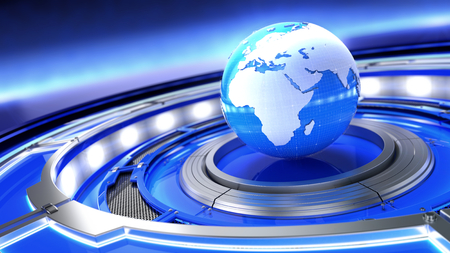 News, broadcast media concept. Abstract image of a world globe. 3d illustration