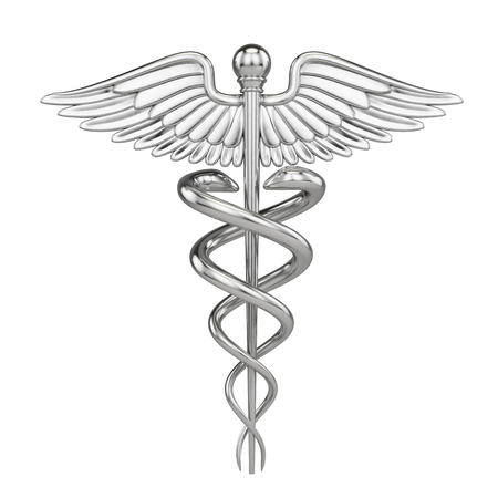 Photo pour Silver metall Caduceus - medical symbol with isolated on white. 3d render - image libre de droit