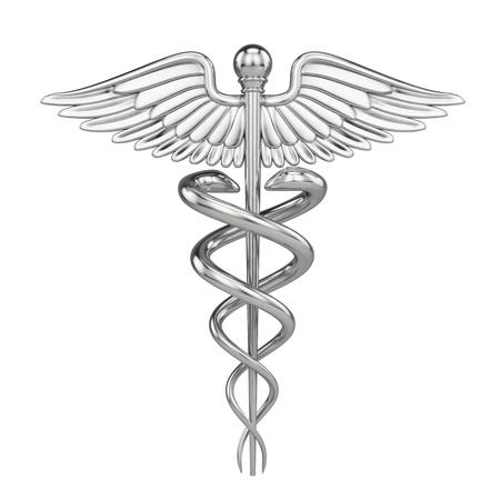 Foto de Silver metall Caduceus - medical symbol with isolated on white. 3d render - Imagen libre de derechos