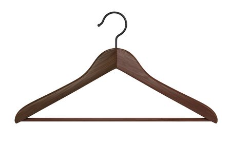Photo pour Front view of Wooden clothes hanger isolated on white background. 3d rendering - image libre de droit