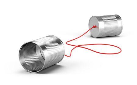 Foto de Tin cans phone isolated on white. Communication concept. 3d rendering - Imagen libre de derechos
