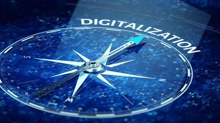 Photo pour Digitalization concept - Compass needle pointing Digitalization word. 3d rendering - image libre de droit