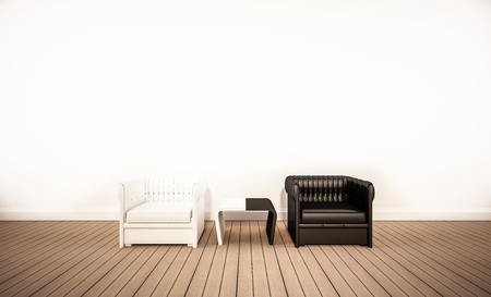 Photo pour Oak wood floor and white wall, with contrast black and white armchair, 3d rendered - image libre de droit