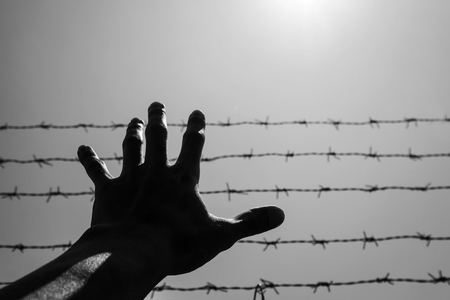 Photo pour Silhouette hand extending to the sky with barbwire and sunlight, black and white - image libre de droit
