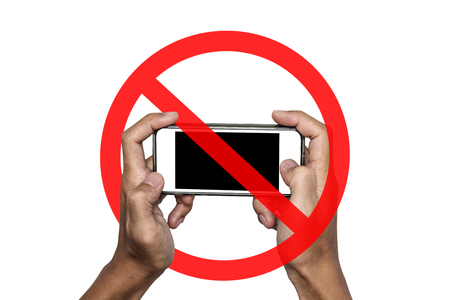 Photo pour No phone or taking a photo not allow, sign, isolated on white background - image libre de droit