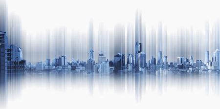 Photo pour Blue panoramic city with motion graphic, technology city connection - image libre de droit