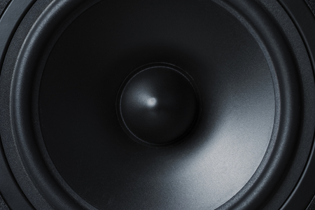 Photo pour Close up of membrane sound speaker on black background - image libre de droit