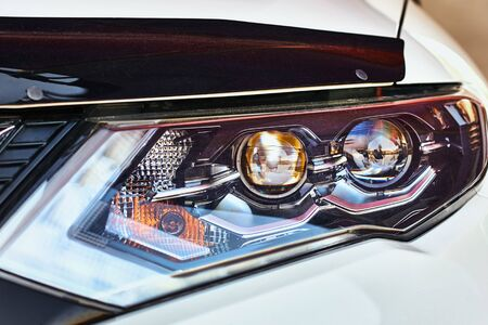 Photo for Close up of modern car headlight with led lamp - Royalty Free Image
