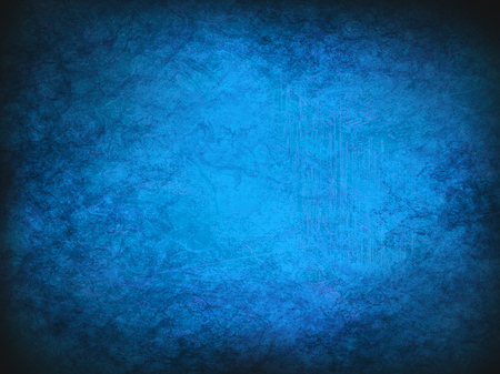 Vintage abstract blue grunge background with bright center spotlight. Modern texture with dark corners
