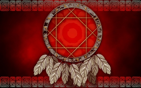 Native American dreamcatcher on red background