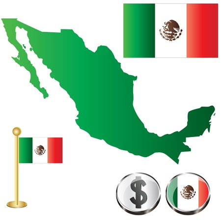 Vector of Mexico map with flags and icons isolated on white background