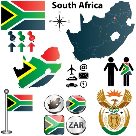 South Africa map with flag, coat of arms and other icons on white