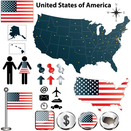 set of USA country shape with flags and icons on white background