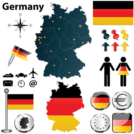 Vector set of Germany country shape with flags and icons isolated on white background