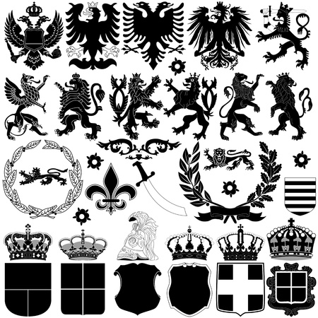 Vector of heraldry design elements on white background