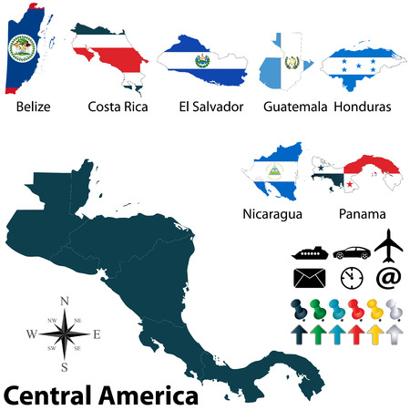 Vector of political map of Central America set with buttons flags on ...