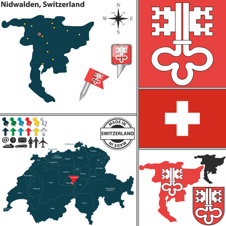 Vector map of canton Nidwalden with coat of arms and location on Switzerland map