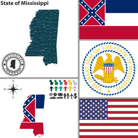 Vector set of Mississippi state with flag and icons on white background