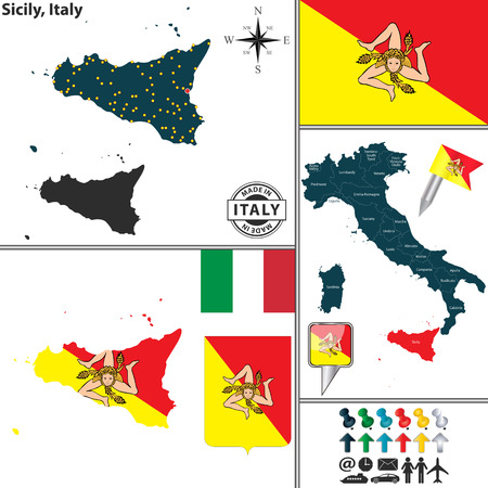Vector map of region Sicily with coat of arms and location ...