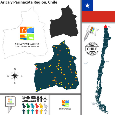 Vector map of Arica y Parinacota region and location on Chilean map
