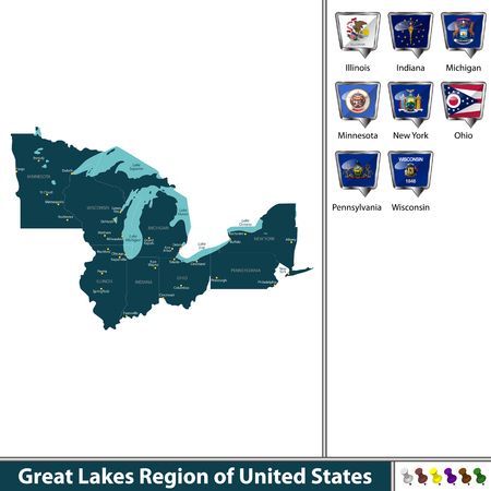 A Vector set of Great Lakes region of United States with ...