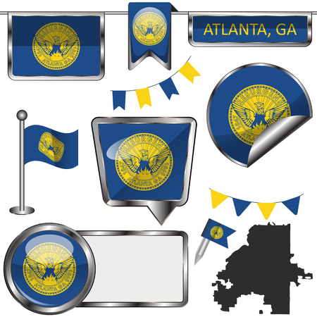 Vector glossy icons of flag of Atlanta, Georgia on white