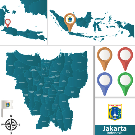 Illustration pour Vector map of Jakarta with named districts, pins icons and locations on Indonesian map - image libre de droit
