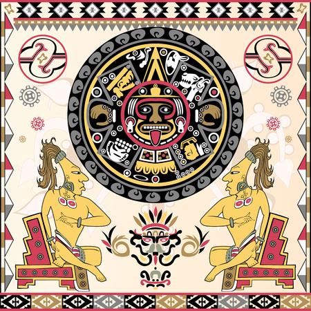 Illustration pour Vector of set of ancient American ornaments with Aztec calendar in a center - image libre de droit
