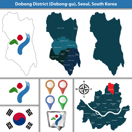 Vector map of Dobong District or Gu of Seoul metropolitan city in South Korea with flags and icons