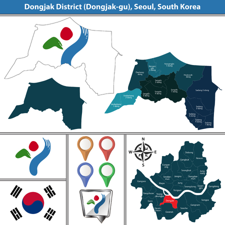 Vector map of Dongjak District or Gu of Seoul metropolitan city in South Korea with flags and icons