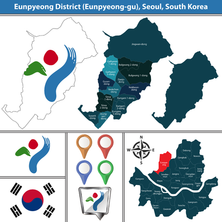 Vector map of Eunpyeong District or Gu of Seoul metropolitan city in South Korea with flags and icons