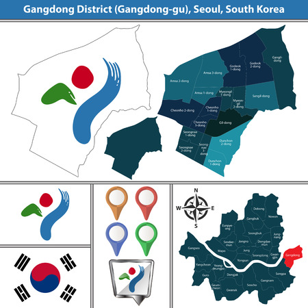 Vector map of Gangdong District or Gu of Seoul metropolitan city in South Korea with flags and icons