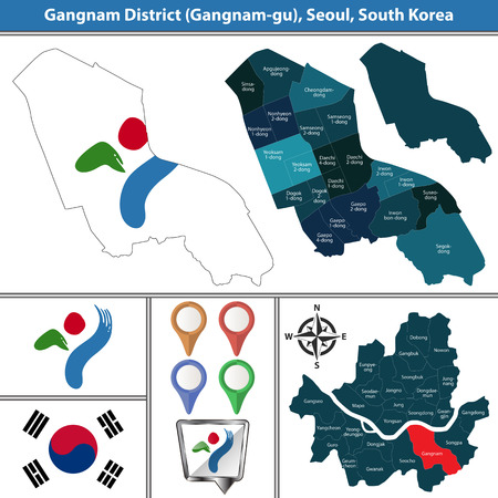 Vector map of Gangnam District or Gu of Seoul metropolitan city in South Korea with flags and icons