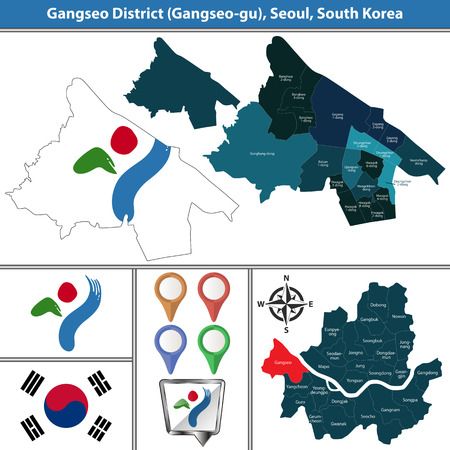 Vector map of Gangseo District or Gu of Seoul metropolitan city in South Korea with flags and icons