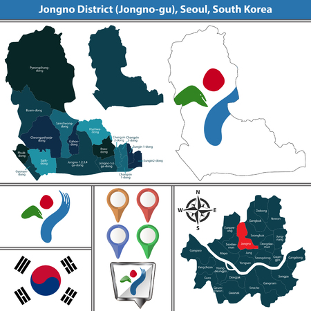 Vector map of Jongno District or Gu of Seoul metropolitan city in South Korea with flags and icons
