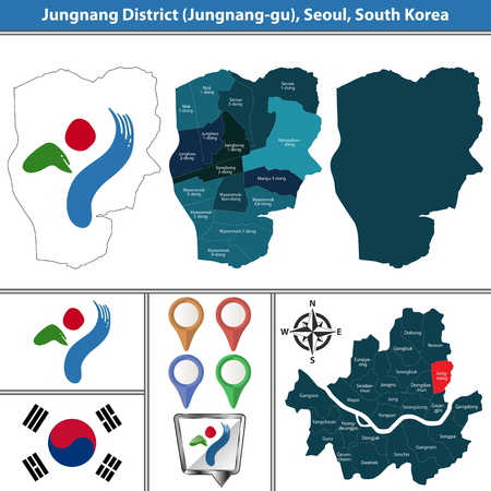 Vector map of Jungnang District or Gu of Seoul metropolitan city in South Korea with flags and icons