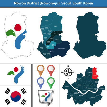 Vector map of Nowon District or Gu of Seoul metropolitan city in South Korea with flags and icons