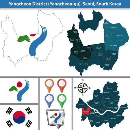 Vector map of Yangcheon District or Gu of Seoul metropolitan city in South Korea with flags and icons