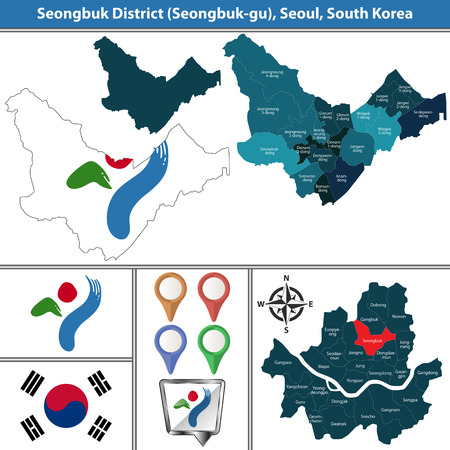 Vector map of Seongbuk District or Gu of Seoul metropolitan city in South Korea with flags and icons