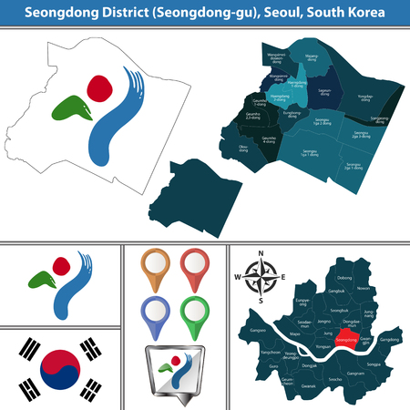 Vector map of Seongdong District or Gu of Seoul metropolitan city in South Korea with flags and icons