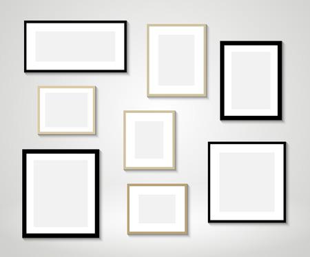 Illustration pour Vector picture frames on wall - image libre de droit