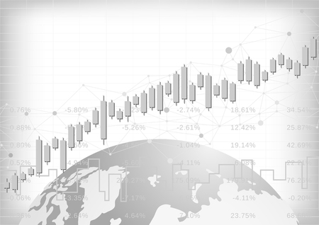 Illustration for Candle stick graph chart in financial market with world, Forex trading graphic concept, vector - Royalty Free Image