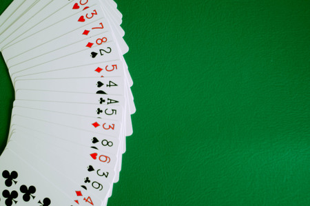 Photo for poker card copy space in green background - Royalty Free Image