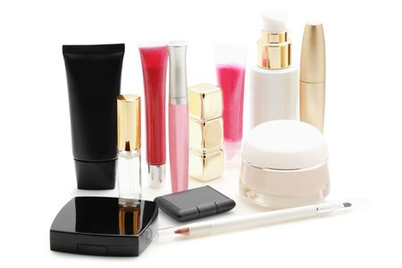 Cosmetics isolated on  white の写真素材