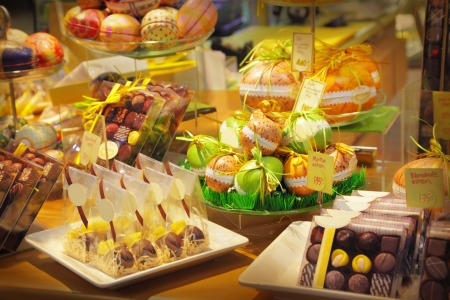 Assorted chocolates sweets in a shop