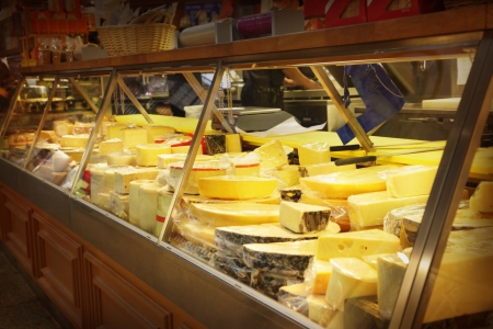 Different cheese in a shop